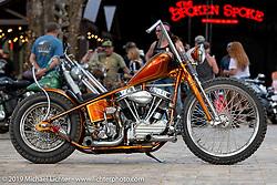 Ray Llanes' Warren Lane built custom Panhead at Warren Lane's True Grit Antique Gathering bike show at the Broken Spoke Saloon in Ormond Beach during Daytona Beach Bike Week, FL. USA. Sunday, March 10, 2019. Photography ©2019 Michael Lichter.