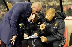 November 10, 2017 - Bruxelles, Belgique - Roberto Martinez head coach of Belgian Team talking to Thierry Henry ass. coach of Belgian Team (Credit Image: © Panoramic via ZUMA Press)