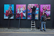 The Underdog Gallery street art installation featuring the work of Chris Guest artist located on Dereham Place on the 13th November 2018 in Shoreditch, London in the United Kingdom. The Underdog London is a gallery space in London Bridge.