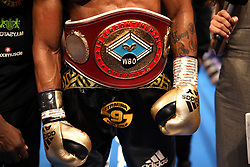 A general view of the WBO Intercontinental Light-Heavyweight Championship title worn by Anthony Yarde at the Royal Albert Hall, London.