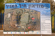 Israel, Hazirim, near Beer Sheva, Israeli Air Force museum. The national centre for Israel's aviation heritage, The map at the entrance to the museum showing the main attractions in Hebrew and English