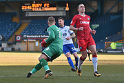 Bury Goalkeeper, Connor Ripley (12) , Bury Defender, Peter Clarke (36) and Gillingham Forward, Tom Eaves (9)  during the EFL Sky Bet League 1 match between Bury and Gillingham at the JD Stadium, Bury, England on 24 February 2018. Picture by Mark Pollitt.