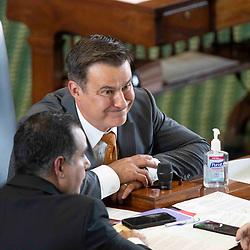 Texas Senate action on Monday, May 17, 2021 showing Sen. Roland Gutierrez, D-San Antonio