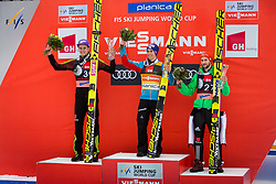 Andreas Wellinger (GER), Stefan Kraft (AUT), Markus Eisenbichler (GER) during flower ceremony after the Ski Flying Hill Individual Competition on Day Two of FIS Ski Jumping World Cup Final 2017, on March 24, 2017 in Planica, Slovenia. Photo by Ziga Zupan / Sportida