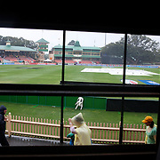 Rain stops play during the Australia V New Zealand group A match at North Sydney Oval in the ICC Women's World Cup Cricket Tournament, in Sydney, Australia on March 8, 2009. New Zealand beat Australia by 13 runs in the (D/L method)  rain affected match. Photo Tim Clayton