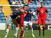Photo: Paul Greenwood.<br />Stockport County v Cardiff City. Coca Cola Championship. Pre Season Friendly. 28/07/2007.<br />Cardiff's Steve McLean looses the ball to Jason Taylor