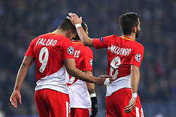 December 6, 2017 - Porto, Porto, Portugal - Radamel Falcao forward of AS Monaco FC score a goal and did not celebrate and is comforted with Joao Moutinho midfielder (R) of AS Monaco FC during the UEFA Champions League Group G match between FC Porto and AS Monaco FC at Dragao Stadium on December 6, 2017 in Porto, Portugal. (Credit Image: © Dpi/NurPhoto via ZUMA Press)