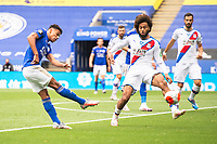 LEICESTER, ENGLAND - JULY 04: James Justin of Leicester City with a strike on goal that hits the bar during the Premier League match between Leicester City and Crystal Palace at The King Power Stadium on July 4, 2020 in Leicester, United Kingdom. Football Stadiums around Europe remain empty due to the Coronavirus Pandemic as Government social distancing laws prohibit fans inside venues resulting in all fixtures being played behind closed doors. (Photo by MB Media)