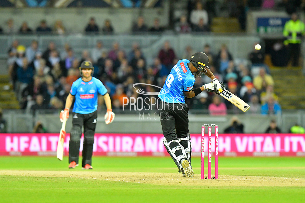 Delray Rawlins of Sussex plays and misses a short ball during the final of the Vitality T20 Finals Day 2018 match between Worcestershire Rapids and Sussex Sharks at Edgbaston, Birmingham, United Kingdom on 15 September 2018.