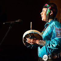 Felipe Tenorio, 13, of Whitehorse High School in Montezuma Creek, UT, performs his solo song of how a guy and girl go to a place called Tsidi toi', during the 46th Annual Diné Song & Dance Festival at Rock Point Community School. In Rock Point on Wednesday.