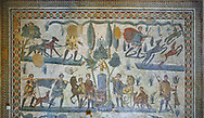Wide picture of the Roman mosaics of Circus Maximus from the Palaestra depicting a chariot race at the Circus Maximus, room no 15 at the Villa Romana del Casale, first quarter of the 4th century AD. Sicily, Italy. A UNESCO World Heritage Site.<br /> <br /> The Small Hunt room was used as a living room for guests of the Villa Romana del Casale. The Small hunt mosaic design has 4 registers running across the mosaic depicting hunting scenes. In the first register two servants are handling hunting dogs. In the second register figures are depicted burning incense at an altar to Diana, the goddess of hunting, before the hunt starts. The offering is being made by Constantius Clorus , the Caesar of Emperor Maximianus who owned the Villa Romana del Casale. Behind him is his son the future Emperor Constantine. To the right of the altar is a figure holding the reins of a horse dressed in a clavi decorated with ivy leaves indicating that he belongs to the family of Maximianus. .<br /> <br /> If you prefer to buy from our ALAMY PHOTO LIBRARY  Collection visit : https://www.alamy.com/portfolio/paul-williams-funkystock/villaromanadelcasale.html<br /> Visit our ROMAN MOSAICS  PHOTO COLLECTIONS for more photos to buy as buy as wall art prints https://funkystock.photoshelter.com/gallery/Roman-Mosaics-Roman-Mosaic-Pictures-Photos-and-Images-Fotos/G00008dLtP71H_yc/C0000q_tZnliJD08