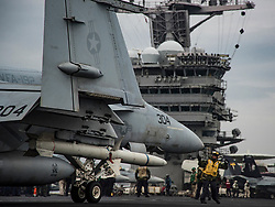 """PACIFIC OCEAN (May 10, 2017) A F/A-18E Super Hornet assigned to the """"Golden Dragons"""" of Strike Fighter Squadron (VFA) 192 prepares to launch from the Nimitz-class aircraft carrier USS Carl Vinson (CVN 70). The U.S. Navy has patrolled the Indo-Asia-Pacific routinely for more than 70 years promoting regional peace and security. (U.S. Navy photo by Mass Communication Specialist 2nd Class Z.A. Landers/Released) 170510-N-GD109-102 <br />Join the conversation:<br />http://www.navy.mil/viewGallery.asp<br />http://www.facebook.com/USNavy<br />http://www.twitter.com/USNavy<br />http://navylive.dodlive.mil<br />http://pinterest.com<br />https://plus.google.com"""