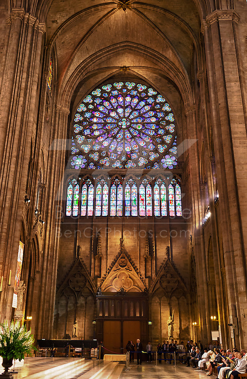 A high dynamic range photo of the inside of the Notre Dame Cathedral in Paris, France on May 17, 2012.