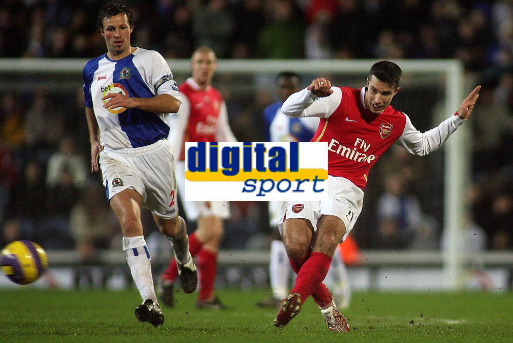 Photo: Paul Thomas.<br /> Blackburn Rovers v Arsenal. The Barclays Premiership. 13/01/2007.<br /> <br /> Robin van Persie (R) of Arsenal passes forward in front of Lucas Neill.