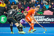 The Netherlands Mirco Pruyser feels the presence of  Linus Butt and Oskar Deecke of Germany. The Netherlands v Germany - Final Unibet EuroHockey Championships, Lee Valley Hockey & Tennis Centre, London, UK on 29 August 2015. Photo: Simon Parker