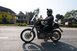 Spoke and Dagger's Chris Drew riding a Royal Enfield Himalayan in Motorcycle Sherpa's Ride to the Heavens motorcycle adventure in the Himalayas of Nepal. Riding from Chitwan to Daman. Tuesday, November 12, 2019. Photography ©2019 Michael Lichter.