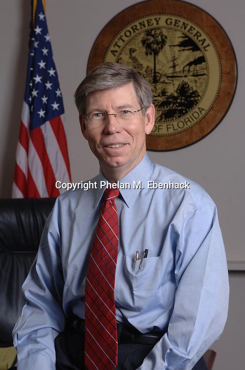 A portrait of Florida Attorney General Bill McCollum at his office in Orlando, Florida.