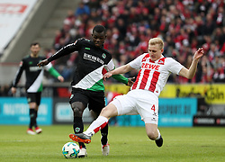 COLOGNE, Feb. 18, 2018  Islas Bebou (L) of Hannover and Frederik Soerensen of Koeln vie for the ball during the Bundesliga match between 1. FC Koeln and Hannover 96 in Cologne, Germany, on Feb. 17, 2018. The match ended with a tie 1-1. (Credit Image: © Ulrich Hufnagel/Xinhua via ZUMA Wire)