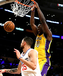 December 29, 2017 - Los Angeles, California, U.S. - Los Angeles Lakers forward Julius Randle (30) slam dunks past LA Clippers guard Austin Rivers (25) in the second half of a NBA Basketball game at Staples Center on Friday, Dec. 29, 2017 in Los Angeles.LA Clippers won 121-106. (Credit Image: © Keith Birmingham/SCNG via ZUMA Wire)