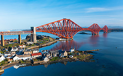 Aerial view of North Queensferry and Forth Bridge ( Forth Railway Bridge, Fife, Scotland, UK