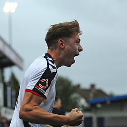 TELFORD COPYRIGHT MIKE SHERIDAN 13/10/2018 - Henry Cowans celebrates after scoring in the final minute during the Vanarama National League North fixture between AFC Telford United and Chorley