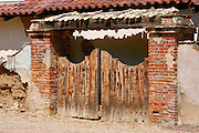 Wooden gates at Mission San Miguel Archangel (16th California Mission  - founded 1797)