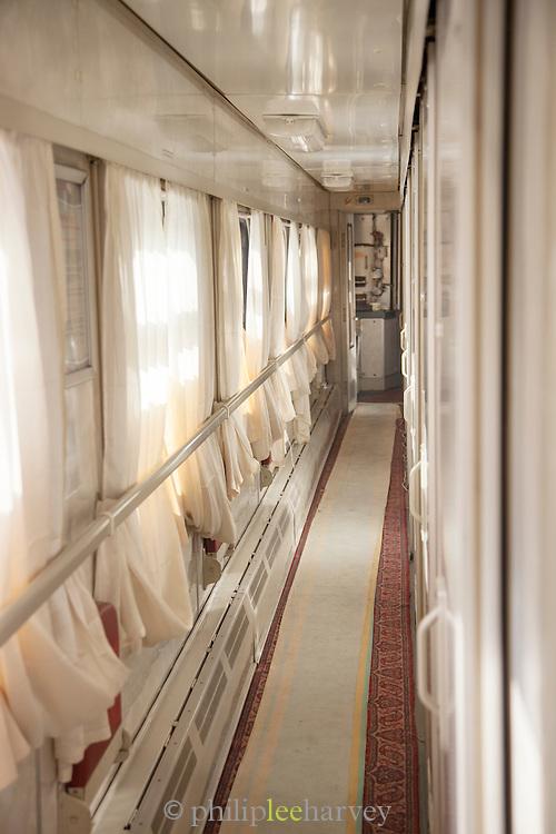 Corridor on-board the BAM Railway Line. Baikal-Amur Mainline). Siberia, Russia