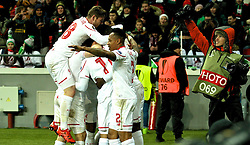 KAZAN, RUSSIA - Thursday, November 5, 2015: Liverpool's Jordon Ibe [hidden] celebrates scoring the first goal against Rubin Kazan with team-mates during the UEFA Europa League Group Stage Group B match at the Kazan Arena. (Pic by Oleg Nikishin/Propaganda)