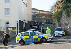 © Licensed to London News Pictures. 03/12/2014. Bristol, UK.  Police and forensics search the old Hospital for Sick Children building in Royal Fort Road for Charlotte Bevan age 30 and her 4 day old baby daughter who went missing from the Bristol Maternity Hospital on St Michaels Hill opposite the search area. Photo credit : Simon Chapman/LNP