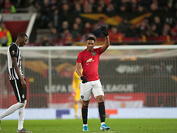 Anthony Martial of Manchester United celebrates after scoring his sides second goal - Mandatory by-line: Jack Phillips/JMP - 07/11/2019 - FOOTBALL - Old Trafford - Manchester, England - Manchester United v Partizan - UEFA Europa League