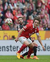 Fotball<br /> Tyskland<br /> 11.04.2015<br /> Foto: Witters/Digitalsport<br /> NORWAY ONLY<br /> <br /> v.l. Gonzalo Castro (Leverkusen), Julian Baumgartlinger<br /> Fussball Bundesliga, FSV Mainz 05 - Bayer 04 Leverkusen