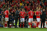 Chris Coleman, the Wales manager gives instructions to Aaron Ramsey (10) of Wales during a break in play.Wales v Austria , FIFA World Cup qualifier , European group D match at the Cardiff city Stadium in Cardiff , South Wales on Saturday 2nd September 2017. pic by Andrew Orchard, Andrew Orchard sports photography