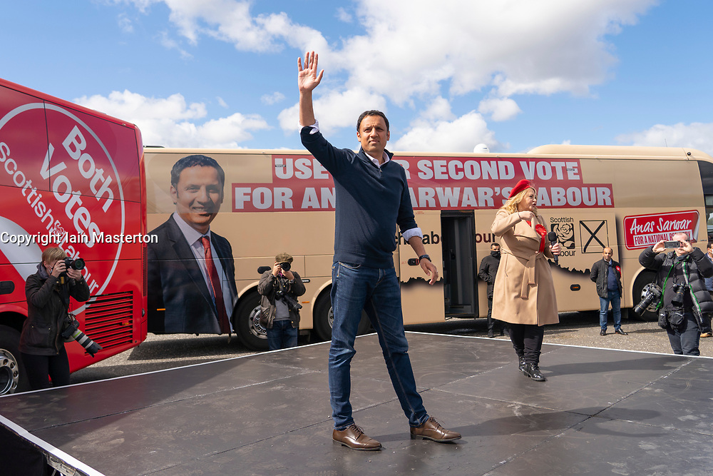 Glasgow, Scotland, UK. 5 May 2021. Scottish Labour Leader Anas Sarwar and former Prime Minister Gordon Brown appear at an eve of polls drive-in campaign rally in Glasgow today. Anas Sarwar gives speech.  Iain Masterton/Alamy Live News