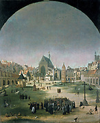 Cemetery and Church of the Holy Innocents'. Jacob Grimmer (born 1525-1526, died before 1590) South Netherlandish painter.
