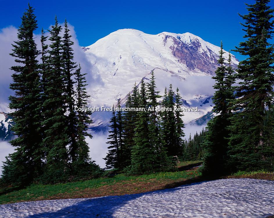 Glacier-clad 14,410 foot Mount Rainier viewed from Yakima Park, Mount Rainier National Park, Washington.