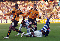 Photo: Kevin Poolman.<br />Queens Park Rangers v Wolverhampton Wanderers. Coca Cola Championship. 04/03/2006. <br />Wolves' Kenny Miller (C) is stopped in his tracks.