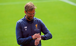 LIVERPOOL, ENGLAND - Monday, May 21, 2018: Liverpool's manager Jürgen Klopp during a training session at Anfield ahead of the UEFA Champions League Final match between Real Madrid CF and Liverpool FC. (Pic by Paul Greenwood/Propaganda)