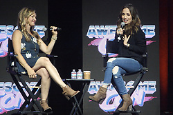 June 18, 2017 - Washington, DC, U.S - Eliza Dushku, of television shows such as Buffy the Vampire Slayer and Dollhouse and Tru Calling, speaking with fellow actress and session moderator Clare Kramer during a Q&A session at Awesome Con 2017. (Credit Image: © Evan Golub via ZUMA Wire)