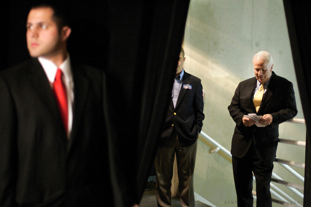 Presidential hopeful John McCain, R-AZ, checks his notes before taking the stage Saturday, April 14, 2007 during the Lincoln Unity Dinner at the Polk County Convention Complex in Des Moines, Iowa. Copyright Scott Morgan 2007