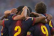 Fussball: International Friendly, 125 years, Hamburger SV - FC Barcelona 1:2, Hamburg, 24.07.2012<br /> Barcelona celebrates scoring first goal from Daniel Alves (middle)<br /> © Torsten Helmke