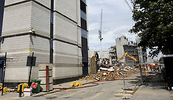 23 June 2017 Tottenham Hotspur FC - demolition of White Hart Lane stadium;<br /> the view down Worcester Avenue N17, where the east stand , known as The Shelf, once stood.<br /> Photo: Mark Leech.