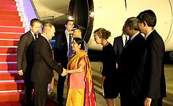 October 4, 2018 - New Delhi, Russia - October 4, 2018. - India, New Delhi. - Russian President Vladimir Putin is welcomed at the Palam Air Force Station. Left: Russian Ambassador to India Nikolay Kudashev. (Credit Image: © Russian Look via ZUMA Wire)