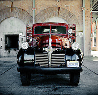 Antique delivery truck at the Herradura House, a tequila distillery in Jalisco, Mexico