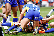 Featherstone Rovers winger Luke Briscoe (5) scores the 2nd try of the game during the Challenge Cup 2018 match between Doncaster and Featherstone Rovers at the Keepmoat Stadium, Doncaster, England on 22 April 2018. Picture by Simon Davies.
