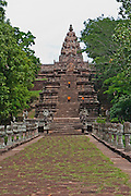 Thailand,Buriram province, View from below of the central stupa of the ancient Khmer temple at Phanom Rung, and the steps leading up to it