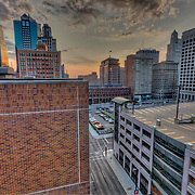 Downtown Kansas City Missouri from top of City Hall parking garage.