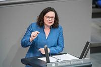 21 MAR 2019, BERLIN/GERMANY:<br /> Andrea Nahles, SPD Farktionsvorsitzende, haelt eine Rede, Bundestagsdebatte zur Regierungserklaerung der Bundeskanzlerin zum Europaeischen Rat, Plenum, Deutscher Bundestag<br /> IMAGE: 20190321-01-062