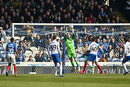 Portsmouth Goalkeeper, Craig MacGillivray (15) with a save during the EFL Sky Bet League 1 match between Portsmouth and Rochdale at Fratton Park, Portsmouth, England on 13 April 2019.