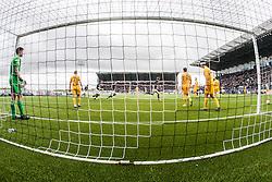 Falkirk's Paul Watson cele scoring their goal. <br /> Falkirk 1 v 0 Morton, Scottish Championship game  played 1/5/2016 at The Falkirk Stadium.