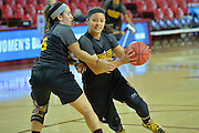 March 17, 2016: Arizona State Sun Devils guard Sabrina Haines (3) drives past a teammate during the first practice day of the 2016 NCAA Division I Women's Basketball Championship first round in Tempe, Ariz.